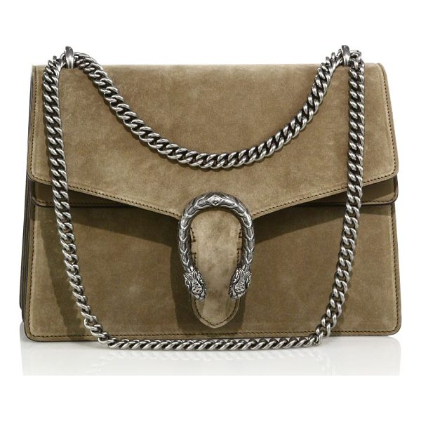 GUCCI dionysus medium suede shoulder bag - A textured tiger head spur adds an ornamental touch to this...
