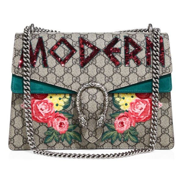 "GUCCI dionysus modern-embroidered gg supreme chain shoulder bag - Sliding chain shoulder strap, 8.5""-15"" drop. Pin closure..."