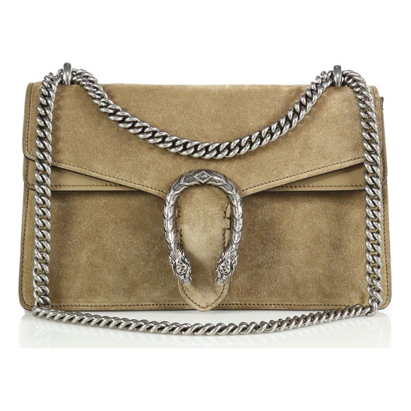 GUCCI Dionysus suede shoulder bag - Finished with a textured tiger head spur, this structured...