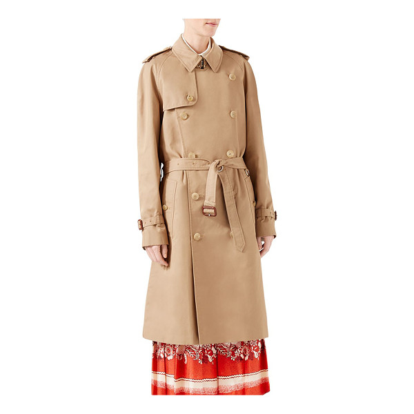 GUCCI gabardine embroidered trench coat - Menswear double-breasted trench coat with a sequin...