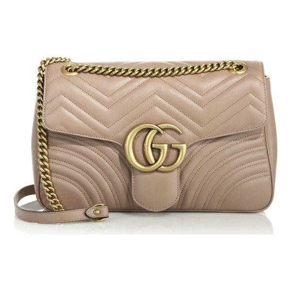"GUCCI gg 2.0 medium quilted leather shoulder bag - Adjustable chain-and-leather shoulder strap, 11.75"" or..."