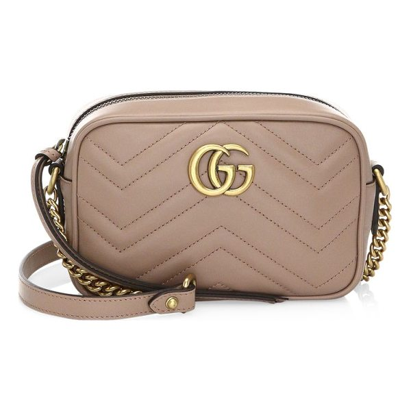"GUCCI gg marmont camera bag - Chain-and-leather shoulder strap, 24"" drop. Top zip..."