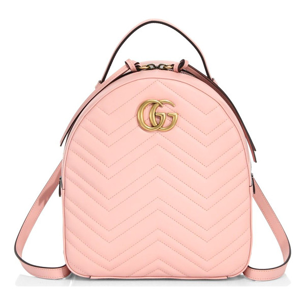 GUCCI gg marmont chevron quilted leather mini backpack - The GG Marmont backpack has a softly structured shape and...