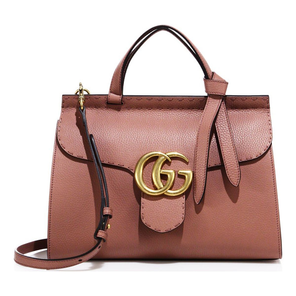 GUCCI gg marmont leather top-handle bag - Flap closure with pin and side release. Double top handles,