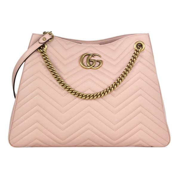 "GUCCI gg marmont matelasse leather shoulder bag - Chain-and-leather shoulder strap, 10"" drop. Concealed"