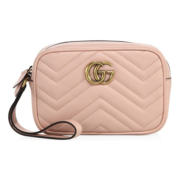 "GUCCI gg marmont matelasse leather pouch - Wrist strap, 5.5"" drop. Top zip closure. Antiqued goldtone"