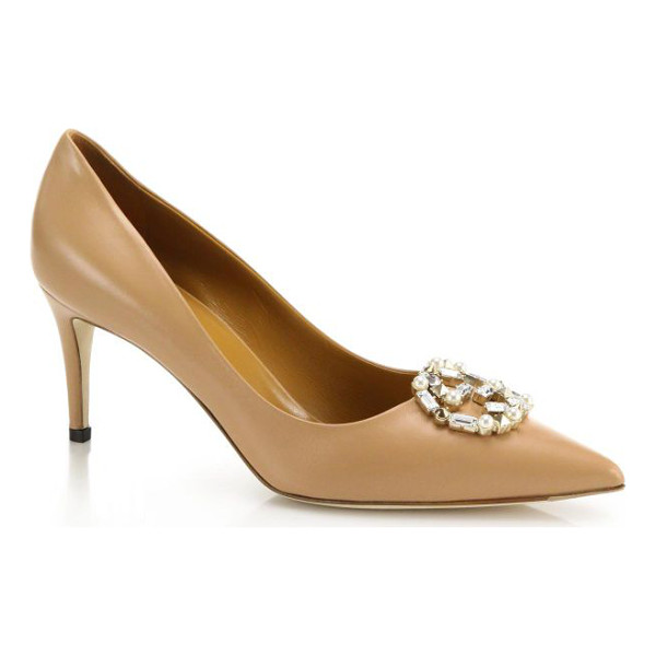 "GUCCI Gg sparkling crystal & faux pearl logo leather pumps - Self-covered heel, 3"" (75mm)Leather upperSimulated faux..."