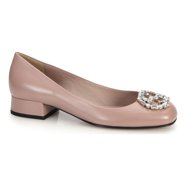"GUCCI Gg sparkling crystal & leather logo pumps - Self-covered heel, 1"" (25mm)Leather upper with Swarovski..."