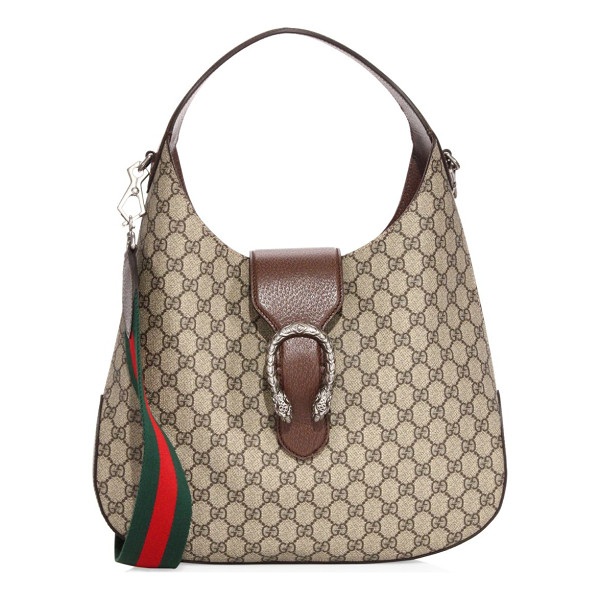 "GUCCI gg supreme hobo bag - Top handle, 7"" drop. Removable, adjustable Sylvie Web..."