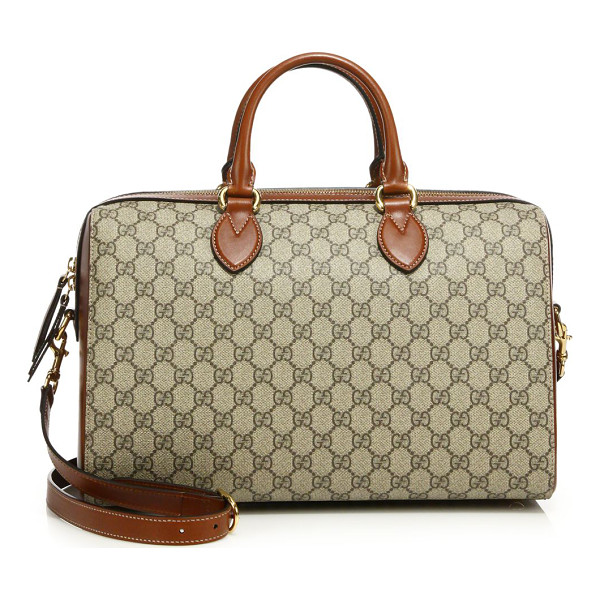 "GUCCI gg supreme medium top-handle bag - Double top handles, 3.5"" drop. Detachable, adjustable"