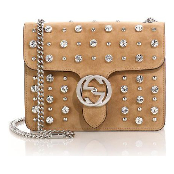 GUCCI Interlocking studded suede shoulder bag - Suede with stud and crystal detailLight silvertone...