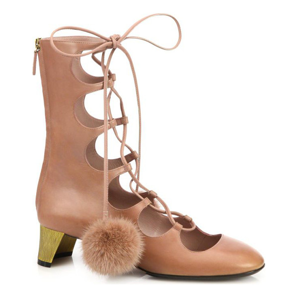 "GUCCI Lace-up fur pom-pom leather boots - Textured metal heel, 1.75"" (45mm)Shaft, 8""Leg..."