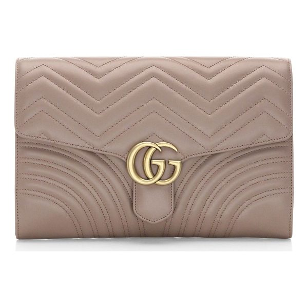GUCCI gg marmont clutch - Magnetic-flap closure. Goldtone hardware. One exterior open...