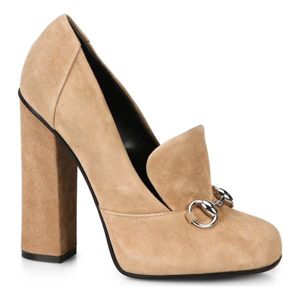 "GUCCI Lillian suede oxford pumps - Self-covered heel, 4.25"" (110mm)Suede upperLeather lining..."