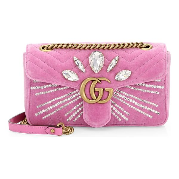 GUCCI marmont crystal-embellished velvet clutch - Velvet clutch with rhinestone rays and Marquise-shaped...