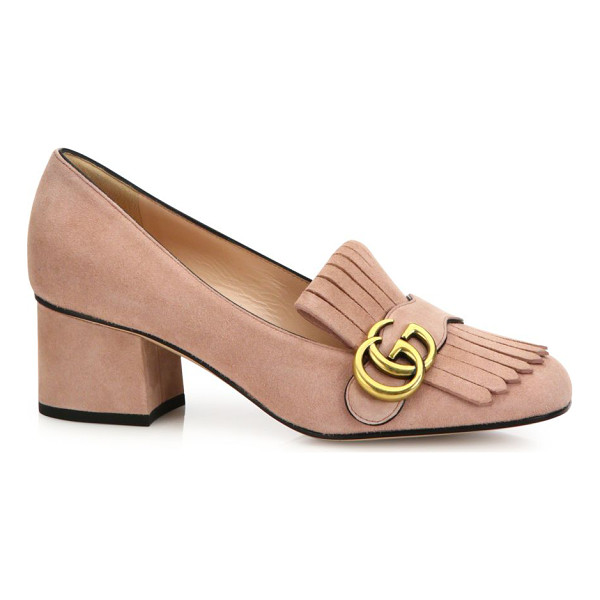 "GUCCI marmont gg suede block heel pumps - Self-covered heel, 2.2"" (55mm).Suede upper. Goldtone GG...."
