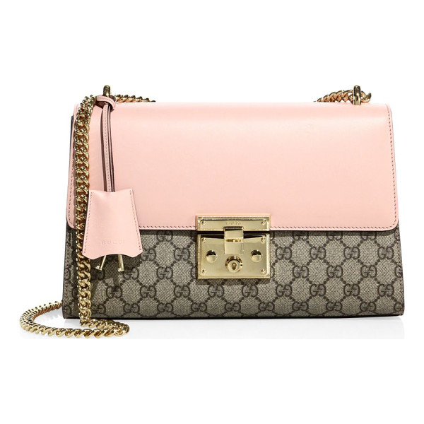 GUCCI medium padlock gg supreme leather shoulder bag - EXCLUSIVELY AT SAKS FIFTH AVENUE. Sliding chain strap,