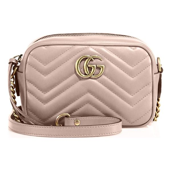 """GUCCI gg marmont matelasse camera bag - Chain-and-leather shoulder strap, 23.5"""" drop. Top zip..."""