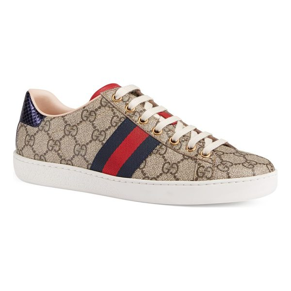 GUCCI women's new ace canvas sneakers - Canvas sneakers with stripe detail on side panels. Canvas...