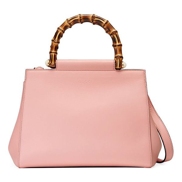 "GUCCI nymphea leather top-handle bag - Double bamboo top handles with pearly side studs, 3"" drop."