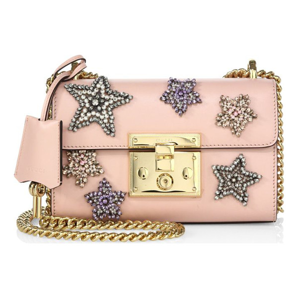 "GUCCI padlock star-embroidered leather chain shoulder bag - Sliding chain shoulder strap, 20"" drop or 11"" drop...."