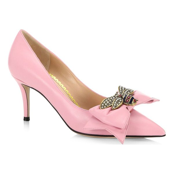 GUCCI queen margeret leather pumps - Leather pumps with bee and bow detail. Leather upper....
