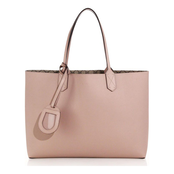 GUCCI Reversible gg medium leather tote - One side is solid leather, reversible side is GG...
