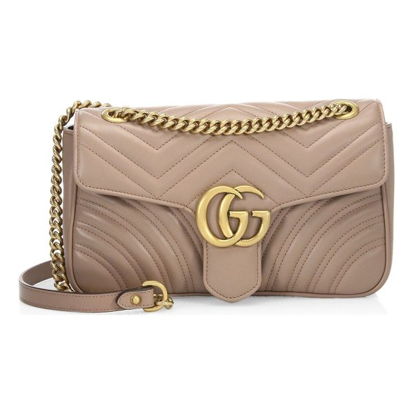 """GUCCI small gg marmont matelasse leather chain shoulder bag - Sliding chain shoulder strap, 12"""" or 22"""" drop. Flap with..."""