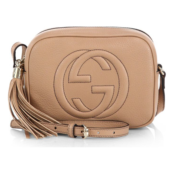 "GUCCI soho leather disco bag - Adjustable strap, 21.6"" drop. Top zip closure. Light fine..."