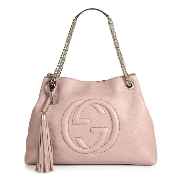 "GUCCI soho medium leather shoulder bag - Double chain shoulder straps with leather pad, 7"" drop...."