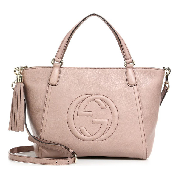 "GUCCI soho small leather top handle bag - Double top handles, 5"" drop. Removable, adjustable shoulder"