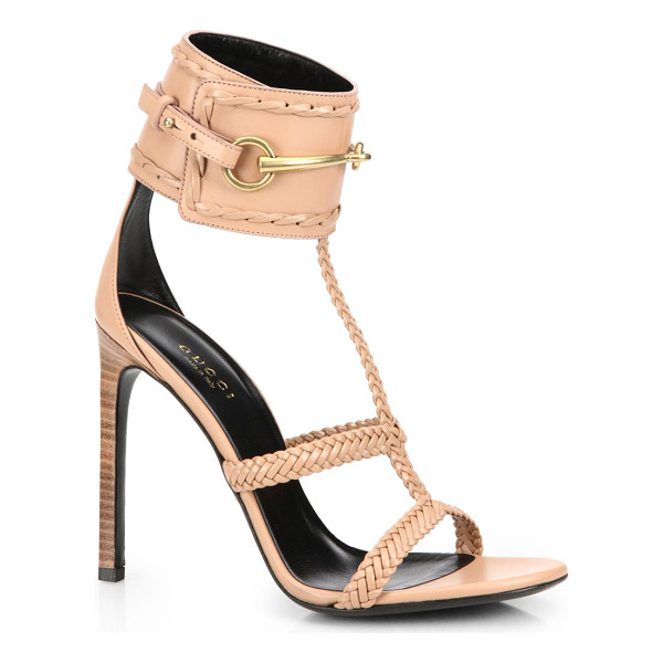 """GUCCI Ursula horsebit braided sandals - Stacked heel, 4.25"""" (110mm)Leather upperLeather lining and..."""