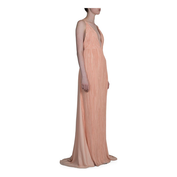 HAIDER ACKERMANN pleated deep v-neck gown - Crisscross straps accent this pleated V-neck gown. Deep...