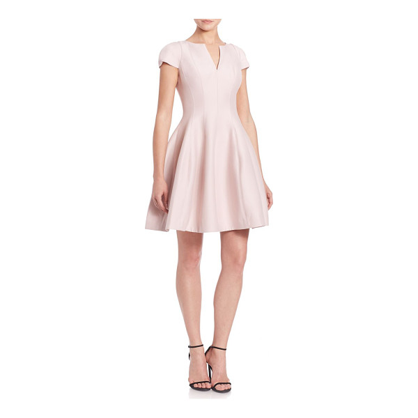 HALSTON cap-sleeve sateen dress - Fit-&-flare design with demure sleeves and a balloon. Split...