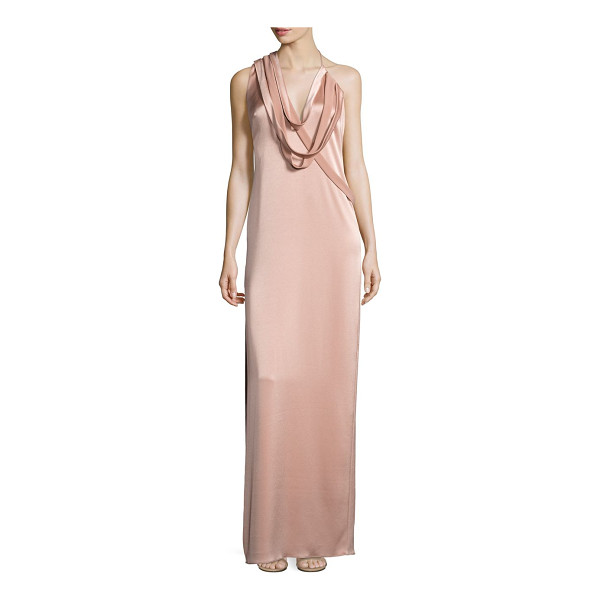 HALSTON draped slip gown - Luminous slip gown with strappy draped detail. Halter neck....