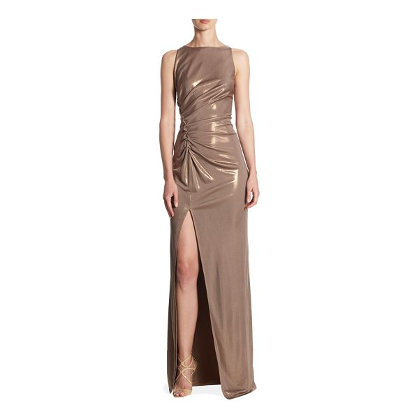 HALSTON ruched boatneck gown - Sleeveless gown with front slit and ruched details....