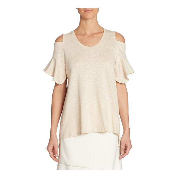 HALSTON cold-shoulder tee - Heathered tee crafted from linen and cotton blend....