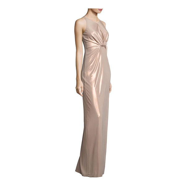 HALSTON metallic jersey cutout gown - EXCLUSIVELY AT SAKS FIFTH AVENUE. Knotted metallic jersey...