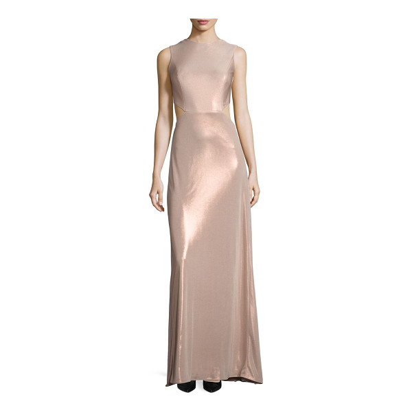 HALSTON metallic jersey twist back gown - Gleaming metallic jersey gown with twisted back. Crewneck....