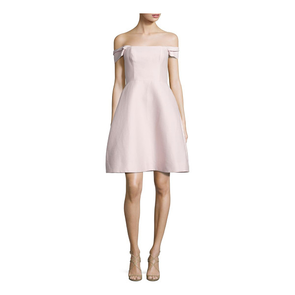 HALSTON off-the-shoulder faille dress - Shoulder-baring A-line dress in cotton and silk....