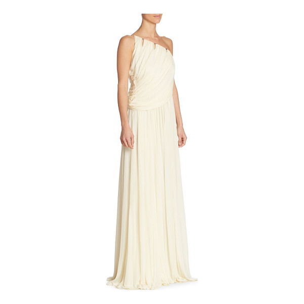 HALSTON one-shoulder gown - Draped jersey gown with front cutouts. One-shoulder...