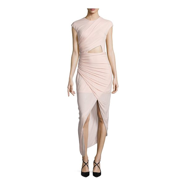 HALSTON ruched asymmetrical jersey dress - Curve-hugging ruched dress with front cutout. Crewneck. Cap...