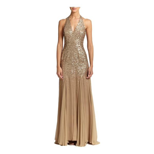 HALSTON Sequin-top halter gown - A luminous sequined bodice tops this fluid georgette halter...