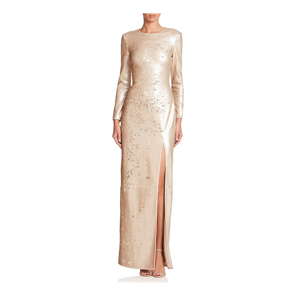HALSTON Sequined high-slit gown - A daring front slit defines this streamlined metallic gown,...