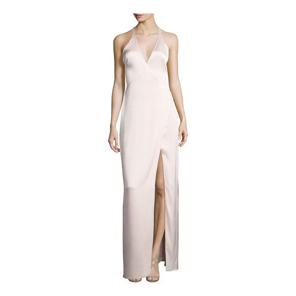 HALSTON surplice neck slip gown - Open back slip gown fashioned with strap accent. Halter...