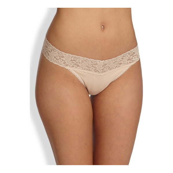 HANKY PANKY cotton original thong - Organic cotton-spandex jersey with a signature stretch lace...