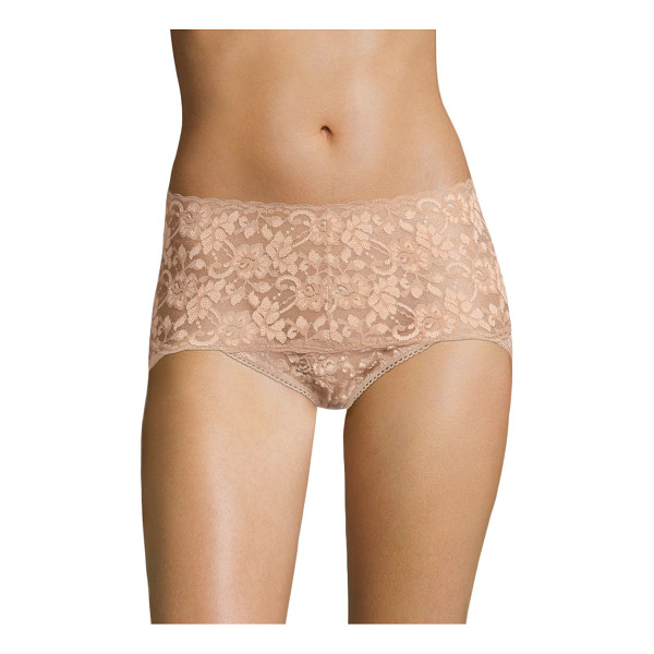 HANKY PANKY cross-dyed retro vikini - Floral lace with scalloped trim high-waisted brief....