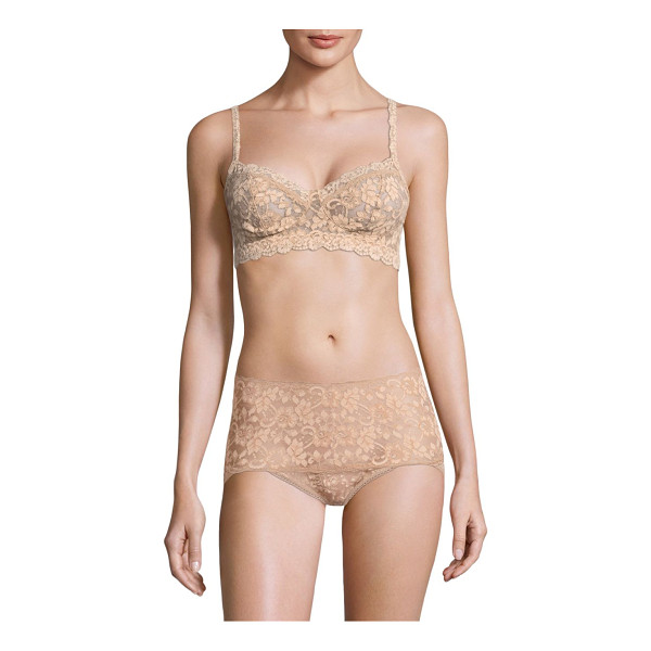 HANKY PANKY cross-dyed retro bralette - Featuring floral lace and scalloped trim details....