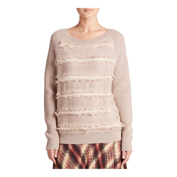 HAUTE HIPPIE Fringe cotton sweater - Fringe panels lend playful texture to this classic...