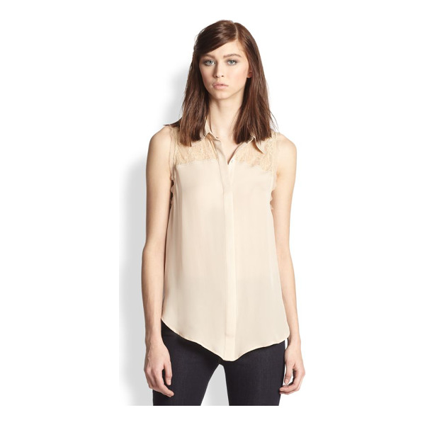 HAUTE HIPPIE Lace yoke silk blouse - A sheer lace yoke and raw-edge trim lend intrigue to this...